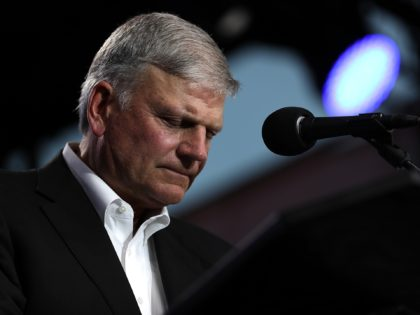 "TURLOCK, CA - MAY 29: Rev. Franklin Graham speaks during Franklin Graham's ""Decision America"" California tour at the Stanislaus County Fairgrounds on May 29, 2018 in Turlock, California. Rev. Franklin Graham is touring California for the weeks leading up to the California primary election on June 5th with a message …"