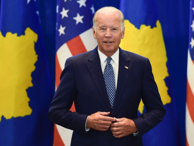 US Vice President Joe Biden (L) and Kosovo Prime Minister Isa Mustafa pose for a picture during their meeting in Pristina on August 17, 2016. Biden is on a two day official visit to Kosovo. / AFP / ARMEND NIMANI (Photo credit should read ARMEND NIMANI/AFP via Getty Images)