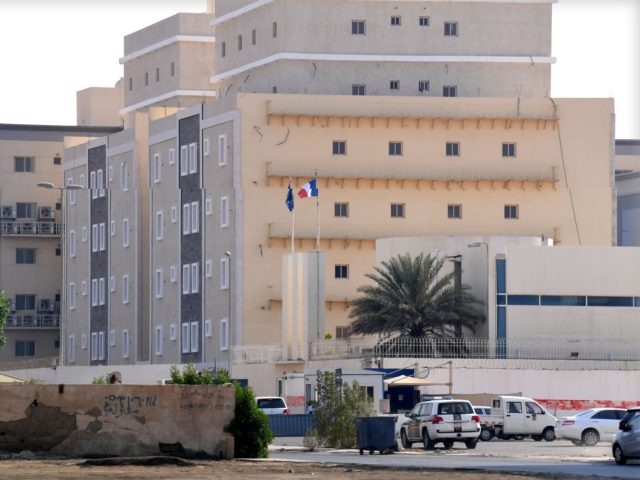 TOPSHOT - A picture taken from a distance shows the French consulate in the Saudi Red Sea port of Jeddah on October 29, 2020. - A Saudi citizen wounded a guard in a knife attack at the French consulate in Jeddah today, officials said, as France faces growing anger over …