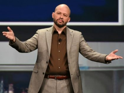 LAS VEGAS, NV - APRIL 18: Actor Jon Cryer emcees the NAB Show's Television Luncheon at the Westgate Las Vegas Resort & Casino on April 18, 2016 in Las Vegas, Nevada. NAB Show, the trade show of the National Association of Broadcasters and the world's largest electronic media show, runs …