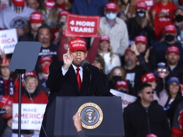 ROME, GEORGIA - NOVEMBER 01: U.S. President Donald Trump speaks during a campaign rally at Richard B. Russell Airport on November 01, 2020 in Rome, Georgia. With two days to go until election day, Donald Trump is campaigning in Michigan, Iowa, North Carolina, Georgia and Florida. (Photo by Justin Sullivan/Getty …
