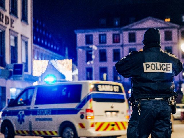 Police and emergency services intervene on Place Gutenberg after a shooting on December 11, 2018 in Strasbourg, eastern France. - The suspect who killed at least two people and injured 11 at Strasbourg's Christmas market was due to be arrested by police earlier in the day over a separate attempted …