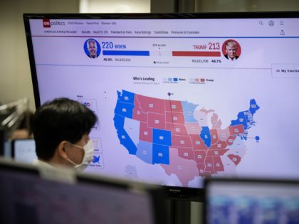 TOKYO, JAPAN - NOVEMBER 04: A foreign exchange trader monitors screens as results are broadcast from the United States election, on November 4, 2020 in Tokyo, Japan. After a record-breaking early voting turnout, Americans head to the polls on the last day to cast their vote for incumbent U.S. President …