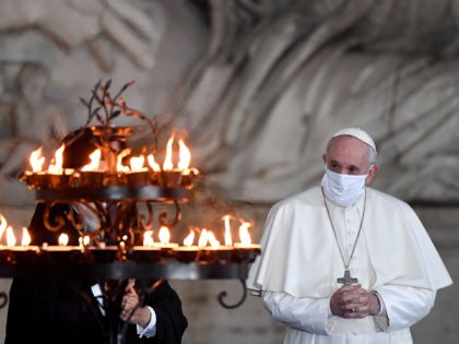 Pope Francis wearing a face mask attends a ceremony for peace with representatives from various religions in Campidoglio Square in Rome on October 20, 2020. (Photo by Andreas SOLARO / AFP) (Photo by ANDREAS SOLARO/AFP via Getty Images)
