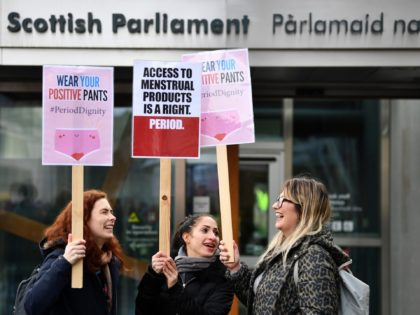 EDINBURGH, SCOTLAND - FEBRUARY 25: Campaigners and activists rally outside the Scottish Parliament in support of the Scottish Governments Support For Period Products Bill on February 25, 2020 in Edinburgh,Scotland. MSPs are set to back plans to tackle period poverty by making sanitary products available to all free of charge,the …