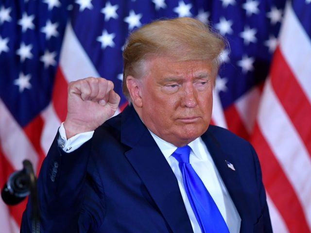 US President Donald Trump pumps his fist after speaking during election night in the East Room of the White House in Washington, DC, early on November 4, 2020. (Photo by MANDEL NGAN / AFP) (Photo by MANDEL NGAN/AFP via Getty Images)