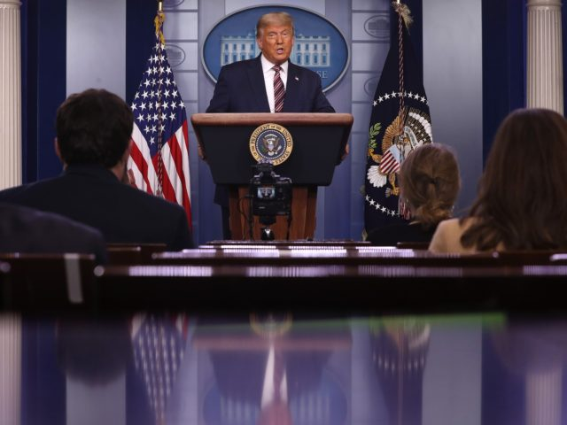 WASHINGTON, DC - NOVEMBER 05: U.S. President Donald Trump speaks in the briefing room at the White House on November 5, 2020 in Washington, DC. Votes are still being counted two days after the presidential election as incumbent Trump is in a close race against challenger Democratic presidential nominee Joe …