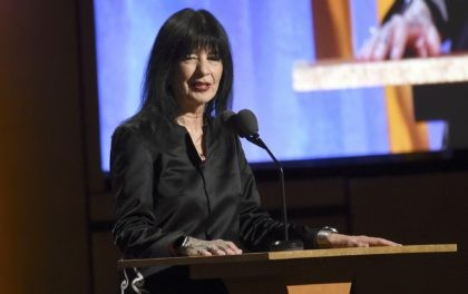 U.S. poet laureate Joy Harjo speaks at the Governors Awards on Oct. 27, 2019, in Los Angeles. Harjo will serve a third 1-year term and has launched an online project that celebrates Native American poets around the country. Her re-appointment was announced Thursday, Nov. 19, 2020, by the Library of …