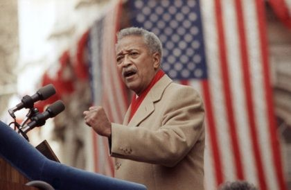 In this Monday, Jan. 2, 1990, file photo, David Dinkins delivers his first speech as mayor of New York, in New York. Dinkins, New York City's first African-American mayor, died Monday, Nov. 23, 2020. He was 93. (AP Photo/Frankie Ziths, File)