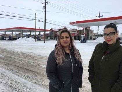 "This Jan. 23, 2019 photo released by ACLU of Montana, shows Martha ""Mimi"" Hernandez, left, and Ana Suda in Havre, Mont. Hernandez and Suda, both U.S. citizens, have settled their lawsuit with the U.S. Customs and Border Patrol. They were detained by an agent who said he was questioning them …"