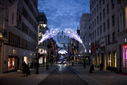 Christmas lights are lit up on New Bond Street in Mayfair, London, Tuesday, Nov. 24, 2020. Haircuts, shopping trips and visits to the pub will be back on the agenda for millions of people when a four-week lockdown in England comes to an end next week, British Prime Minister Boris …