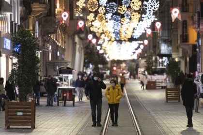 People, wearing masks to help curb the spread of the coronavirus, walk in Istiklal street, the main shopping street in Istanbul, late Wednesday, Nov. 25, 2020. The number of daily COVID-19 infections in Turkey jumped to above 28,000 on Wednesday after, in a surprise development, the government resumed publishing all …