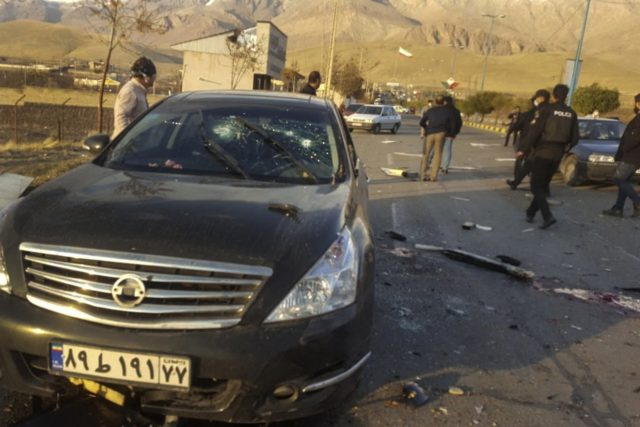 This photo released by the semi-official Fars News Agency shows the scene where Mohsen Fakhrizadeh was killed in Absard, a small city just east of the capital, Tehran, Iran, Friday, Nov. 27, 2020. Fakhrizadeh, an Iranian scientist that Israel alleged led the Islamic Republic's military nuclear program until its disbanding …