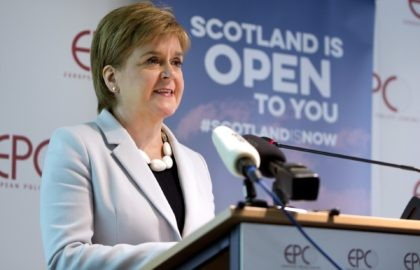In this Tuesday, June 11, 2019 file photo, Scotland's First Minister Nicola Sturgeon speaks during an event in Brussels. Scotland's pro-independence leader said Monday, Nov. 30, 2020 that she hopes to hold a referendum on independence from Britain as early as next year, setting up a political showdown with a …
