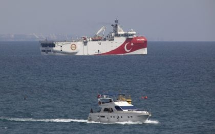 In this Sept. 27, 2020 file photo, Turkey's research vessel Oruc Reis is anchored off the coast of Antalya on the Mediterranean Sea in Turkey. In a tweet Monday, Nov. 30, 2020, Turkey's energy ministry said the Oruc Reis had returned to port in Antalya after completing two-dimensional seismic research …
