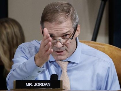 Rep. Jim Jordan, R-Ohio, questions Jennifer Williams, an aide to Vice President Mike Pence, and National Security Council aide Lt. Col. Alexander Vindman, as they testify before the House Intelligence Committee on Capitol Hill in Washington, Tuesday, Nov. 19, 2019, during a public impeachment hearing of President Donald Trump's efforts …