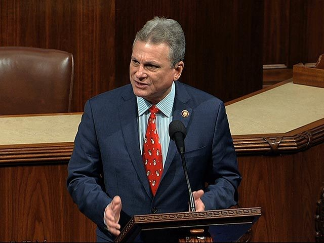 Rep. Buddy Carter, R-Ga., speaks as the House of Representatives debates the articles of impeachment against President Donald Trump at the Capitol in Washington, Wednesday, Dec. 18, 2019. (House Television via AP)
