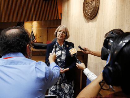 Arizona Senate President Karen Fann, R-Prescott, speaks to the media after the adjournment of the Arizona Senate legislative session Tuesday, May 26, 2020, in Phoenix. The Arizona Senate's plan to pass a number of House bills and possibly consider two pieces of coronavirus-related legislation were stopped when a majority of …