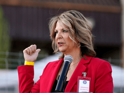 Dr. Kelli Ward, chair of the Arizona Republican Party, holds a press conference at the Maricopa County Elections Department as she reports the progress of the a post-election logic and accuracy test for the general election as she an observer of the test process Wednesday, Nov. 18, 2020, in Phoenix. …
