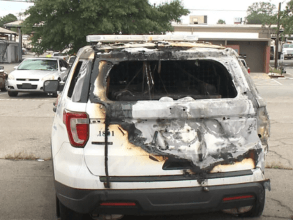 Arkansas police cruiser torched during BLM protest. (Video Screenshot: THVCBS11)