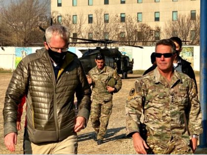 Acting Sec Def Chris Miller (left). Below is his arrival to Resolute Support HQs, to meet with top US Commander in Afghanistan Gen. Scott Miller (right).