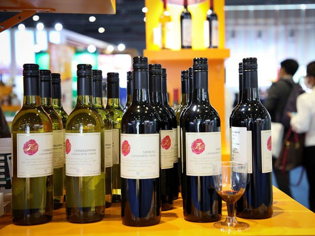 Wines from Australia are seen at the Food and Agricultural Products exhibition at the third China International Import Expo (CIIE) in Shanghai on November 5, 2020. (Photo by STR / AFP) / China OUT (Photo by STR/AFP via Getty Images)