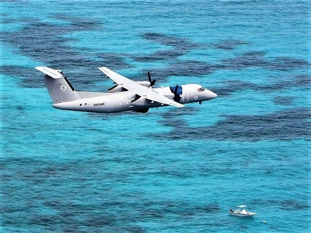 A U.S. Customs and Border Protection Air and Marine Operations DHC-8 interdicts a suspected drug smuggling vessel in the eastern Caribbean Sea. (File Photo: U.S. Customs and Border Protection/Air and Marine Operations)