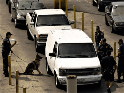 CBP K-9 alerts to an odor it is trained to detect at a U.S. border crossing. (AP File Photo/Guillermo Arias)