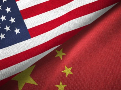 China and United States flags together realtions textile cloth fabric texture