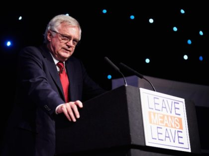 BOLTON, ENGLAND - SEPTEMBER 22: Conservative MP David Davis, the former Secretary of State for Exiting the European Union, gives a speech while attending a Leave Means Leave rally held at the University of Bolton Stadium on September 22, 2018 in Bolton, England. The Bolton rally is the first in …