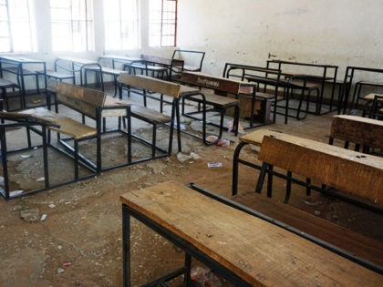 A picture taken on February 28, 2018 at the Government Girls Technical College at Dapchi town in northern Nigerian, shows a classroom deserted by fleeing students after Boko Haram Islamists kidnapped 110 school girls. Nigeria's government on March 1 said it had set up a committee to establish how Boko …