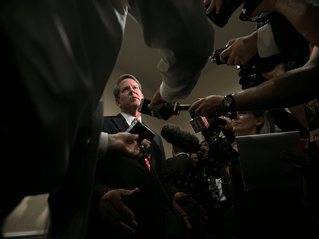 Secretary of State Brian Kemp addresses the media after he declares victory during an election watch party on July 24, 2018 in Athens, Georgia. Kemp defeated opponent Casey Cagle in a runoff election for the Republican nomination for the Georgia Governor's race. (Photo by Jessica McGowan/Getty Images)