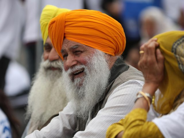 Members of the Sikh community gather to call for a referendum of the Sikh global community to establish India's Punjab state as an independent country, in Trafalgar Square in central London on August 12, 2018. (Photo by Daniel LEAL-OLIVAS / AFP) (Photo credit should read DANIEL LEAL-OLIVAS/AFP via Getty Images)