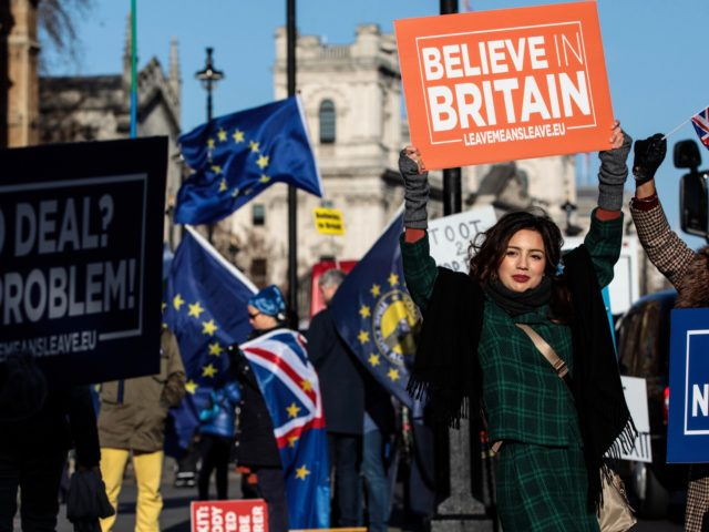 LONDON, ENGLAND - JANUARY 08: Pro-Brexit protesters demonstrate outside the Houses of Parliament in Westminster on January 08, 2019 in London, England. MPs in Parliament are to vote on Theresa May's Brexit deal next week after last month's vote was called off in the face of a major defeat. (Photo …