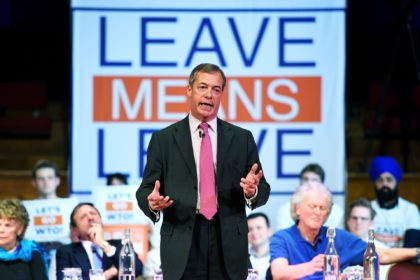 LONDON, ENGLAND - JANUARY 17: Former UKIP leader Nigel Farage speaks during the Brexit: Let's go WTO rally by the Leave Means Leave Brexit Campaig in Central Hall on January 17, 2019 in London, England. After defeating a vote of no confidence in her government, Theresa May called on MPs …