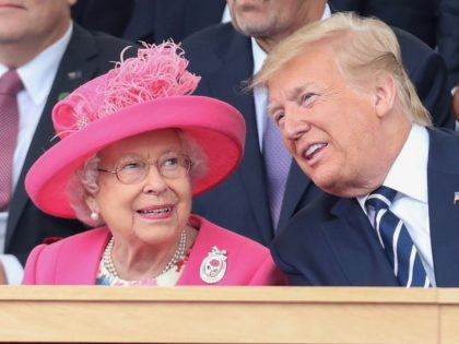 PORTSMOUTH, ENGLAND - JUNE 05: Queen Elizabeth II and US President, Donald Trump attend the D-day 75 Commemorations on June 05, 2019 in Portsmouth, England. The political heads of 16 countries involved in World War II joined Her Majesty, The Queen is on the UK south coast for a service …