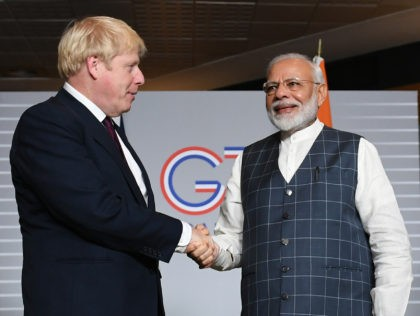 BIARRITZ, FRANCE - AUGUST 25: British Prime Minister Boris Johnson (L) meets Prime Minister of India Narendra Modi for bilateral talks during the G7 summit on August 25, 2019 in Biarritz, France. The French southwestern seaside resort of Biarritz is hosting the 45th G7 summit from August 24 to 26. …
