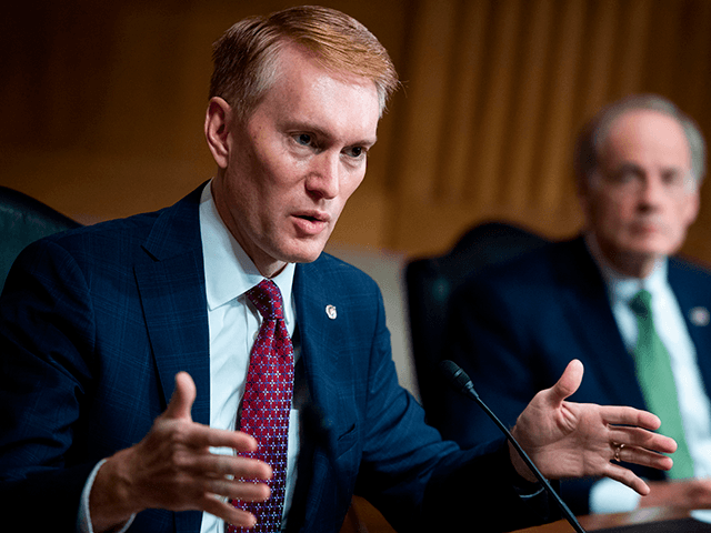 "Sen. James Lankford, R-OK, directs a question to Mark A. Morgan, acting commissioner of the US Customs and Border Protection, during the Senate Homeland Security and Governmental Affairs hearing titled ""CBP Oversight: Examining the Evolving Challenges Facing the Agency"", in the Dirksen Senate Office Building on June 25, 2020 in …"