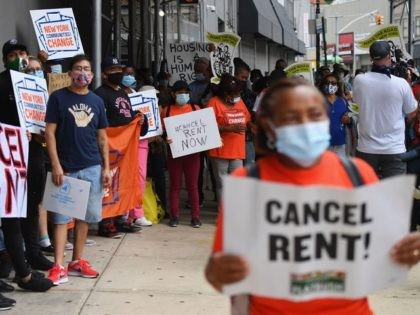 Protestors demonstrate during a 'No Evictions, No Police' national day of action protest against law enforcement who forcibly remove people from homes on September 1, 2020 in New York City. - Activists and relief groups in the United States are scrambling to head off a monumental wave of evictions nationwide, …