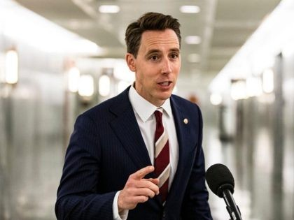 WASHINGTON, DC - OCTOBER 22: Senator Josh Hawley (R-MO) makes a statement after voting in the Judiciary Committee to move the nomination of Judge Amy Coney Barrett to the Supreme Court out of committee and on to the Senate for a full vote on October 22, 2020 in Washington, DC. …