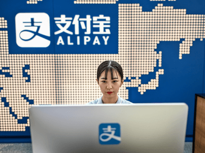 This file photo taken on August 28, 2020 shows an employee working on a computer at the Alipay reception of the Shanghai office building of Ant Group in Shanghai. - China's Ant Group must postpone its record-breaking IPO, the Shanghai Stock Exchange said on November 3, as the fintech giant …