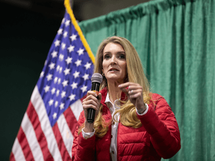 "U.S. Sen. Kelly Loeffler (R-GA) speaks to the crowd of supporters during a ""Defend the Majority"" rally at the Georgia National Fairgrounds and Agriculture Center on November 19, 2020 in Perry, Georgia. Loeffler is facing Democratic U.S. Senate candidate Raphael Warnock in a January 5th runoff race. (Photo by Jessica …"
