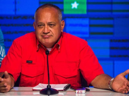 Socialist United Party of Venezuela (PSUV) leader Diosdado Cabello speaks after the announcement of the legislative election results in Caracas on December 7, 2020. (Photo by Cristian Hernandez / AFP) (Photo by CRISTIAN HERNANDEZ/AFP via Getty Images)