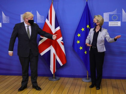 BRUSSELS, BELGIUM - DECEMBER 09: Prime Minister Boris Johnson and European Commission president Ursula von der Leyen meet for a dinner during they will try to reach a breakthrough on a post-Brexit trade deal on December 9, 2020 in Brussels, Belgium. The British prime minister's visit marked his most high-profile …