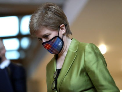 EDINBURGH, SCOTLAND - DECEMBER 10: Scottish First Minister Nicola Sturgeon arrives for the First Minister's Questions at the parliament in Holyrood on changes to the COVID-19 five-level system in Scotland, on December 10, 2020 in Ediburgh, Scotland. (Photo by Russell Cheyne - Pool/Getty Images)