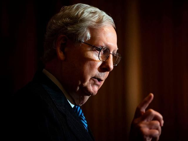 US Senate Majority Leader Mitch McConnell speaks during a news conference with other Senate Republicans at the US Capitol in Washington, DC, on December 15, 2020. (Photo by Caroline Brehman / POOL / AFP) (Photo by CAROLINE BREHMAN/POOL/AFP via Getty Images)