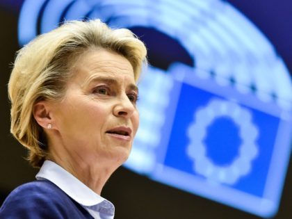 President of Commission Ursula von der Leyen delivers a speech during a session at the European Parliament, in Brussels, on December 16, 2020. (Photo by JOHN THYS / AFP) (Photo by JOHN THYS/AFP via Getty Images)