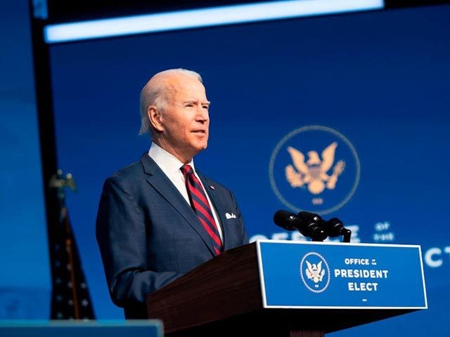 US President-elect Joe Biden speaks during an event to introduce key Cabinet nominees and members of his climate team at The Queen Theater in Wilmington, Delaware on December 19, 2020. (Photo by ALEX EDELMAN / AFP) (Photo by ALEX EDELMAN/AFP via Getty Images)