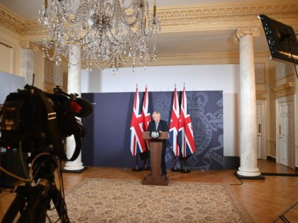 LONDON, ENGLAND - DECEMBER 24: Prime Minister, Boris Johnson holds a press conference on reaching a Brexit trade deal in Downing Street on December 24, 2020 in London, England. Four and a half years after British voters elected to leave the EU, and mere days before the latest and presumably …