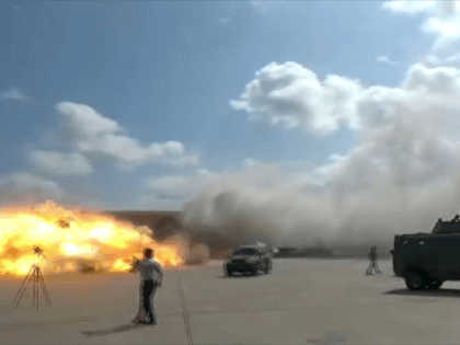 A video grab shows the moment an ordnance hit the airport in the southern Yemeni port city of Aden on December 30, 2020, shortly after the arrival of a plane carrying members of a new unity government. - Explosions rocked Yemen's Aden airport on Wednesday shortly after the arrival of …